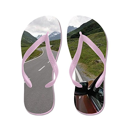 CafePress Asphalt Road In Mountain With Car - Flip Flops, Funny Thong Sandals, Beach Sandals Pink