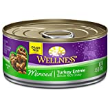 Wellness Natural Canned Grain Free Wet Cat Food, Minced Turkey, 5.5-Ounce Can (Pack of 24)
