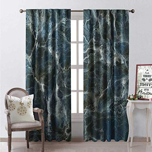 Hengshu Marble Room Darkening Wide Curtains Surface Motif Large Formless Crack Lines and Granite Rock Abstract Design Decor Curtains by W72 x L84 Slate Blue Grey