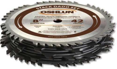 Oshlun SDS-0842 8-Inch 42 Tooth Stack Dado Set with 5/8-Inch Arbor 8' Stacked Dado Set