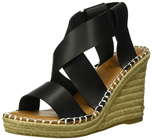 (Sugar Women's SGR-Hopeful Espadrille Wedge Sandal, Black Burnish, 6 Medium US)