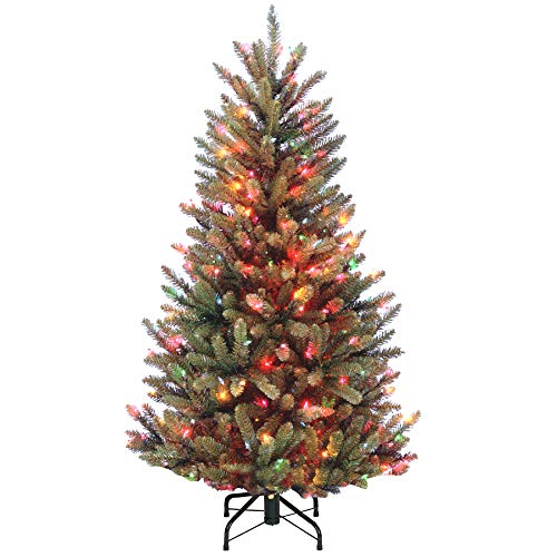 CC Home Furnishings 4.5' Pre-Lit Natural Fraser Fir Artificial Christmas Tree – Multi-Color Lights ()