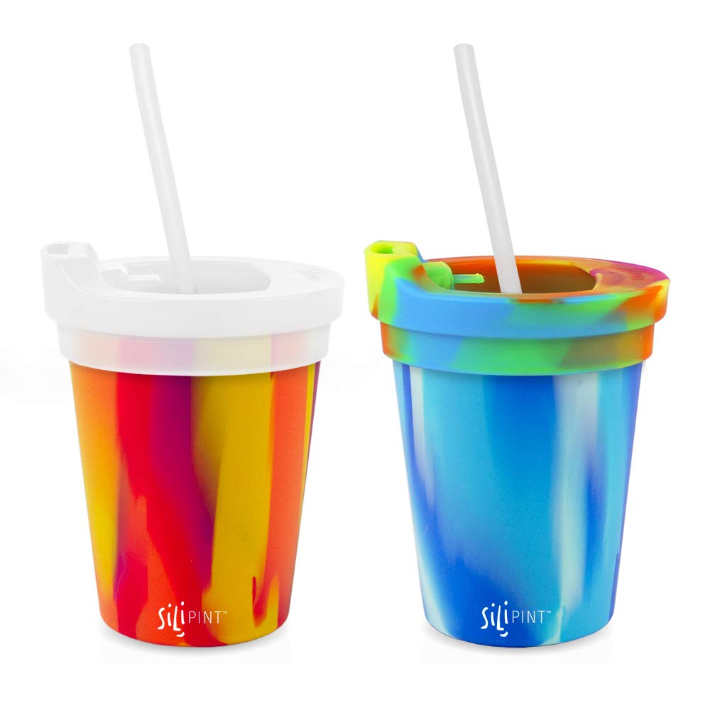 Silipint Safe Silicone Kids 8oz Cups Arctic & Sunfire, U.S. Patented, BPA-Free, Unbreakable, Sealable Lid, Silistraws Included (2 Cups/Lids and Straws)