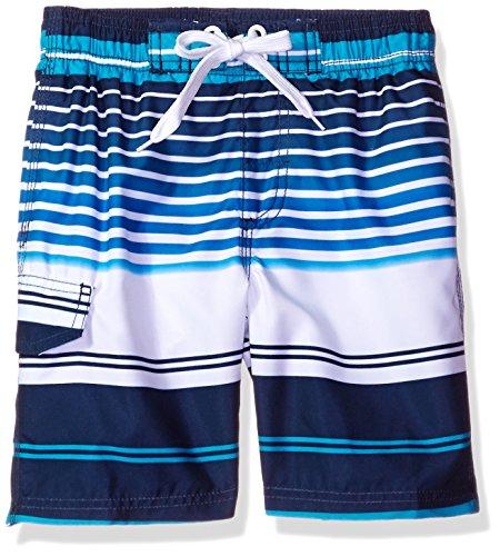 Kanu Surf Little Boys' Toddler Tidal Stripe Swim Trunk, Navy, 2T