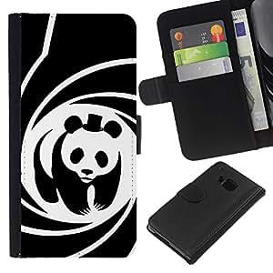"""[Neutron-Star] Modelo colorido cuero de la carpeta del tirón del caso cubierta piel Holster Funda protecció Para HTC One M7 [Panda Película Sombrero espiral cartel lindo""""]"""