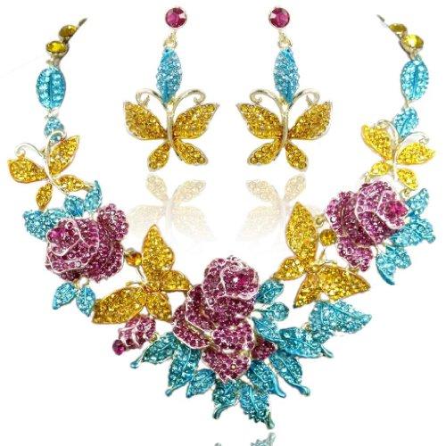 EVER FAITH Austrian Crystal Enamel Butterfly Rose Flower Leaf Necklace Earrings Set Multicolor Gold-Tone
