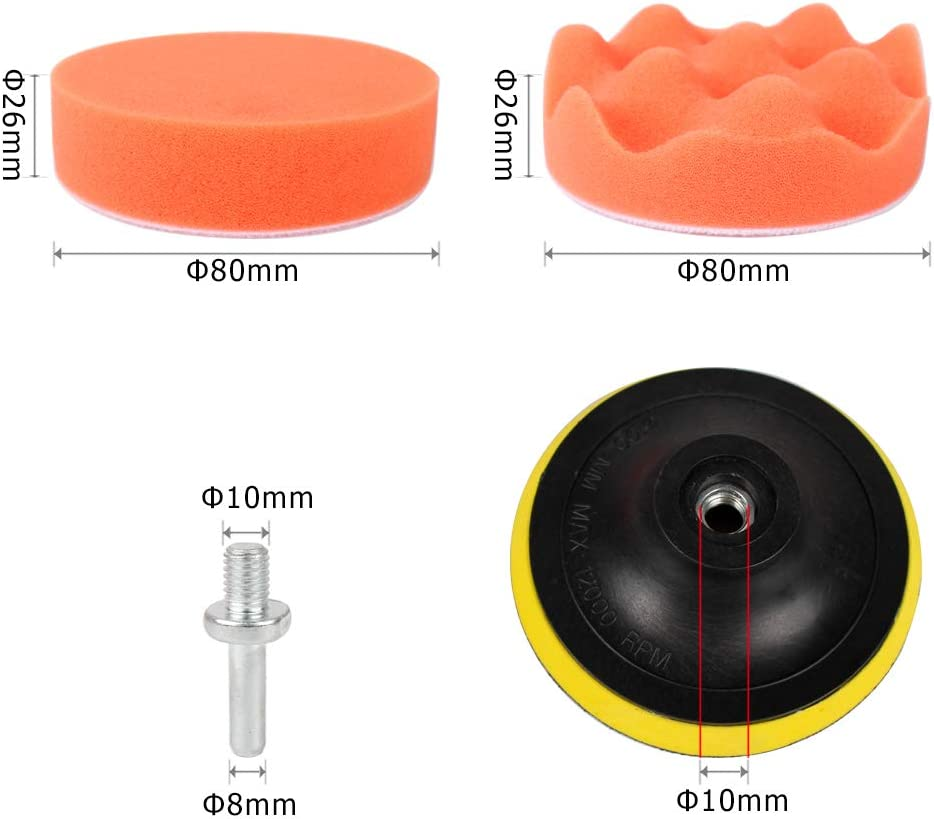 Style 1 Polishing Waxing 80mm Sealing Glaze Buffing Pads Sponge Pads Kit for Car Sanding 3 Inch Sorrento Crafts Car Foam Drill Polishing Pad Kit 22 PCS