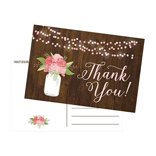 50 4x6 Rustic Floral Thank You Postcards Bulk, Modern Cute Flower Matte Blank Thank You Note Card Stationery For Wedding, Bridesmaid Bridal or Baby Shower, Teachers, Appreciation, Religious, Business