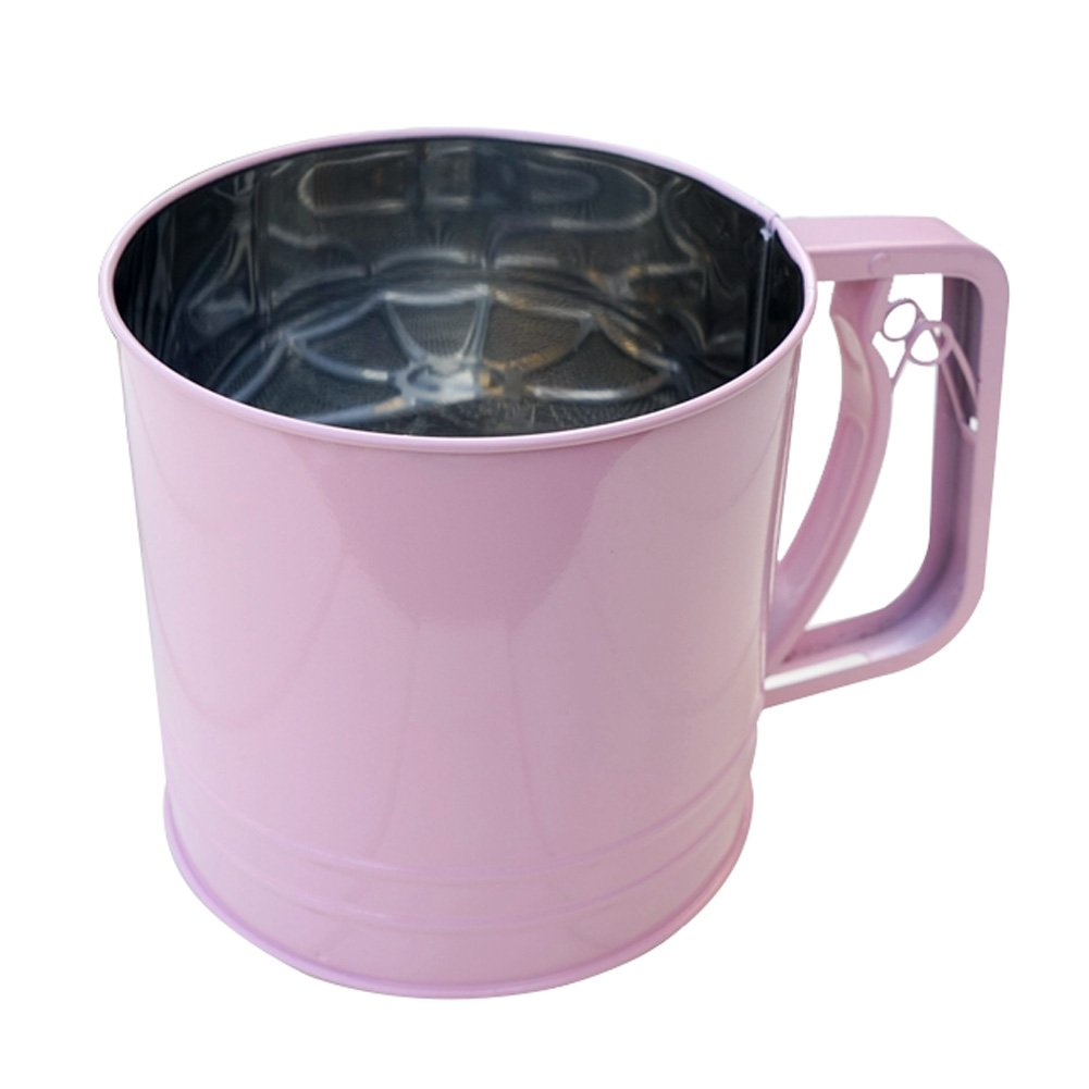 A.B Crew Stainless Steel Flour Sifter with Triple Mesh Screen Manual Powder Strainer, Pink