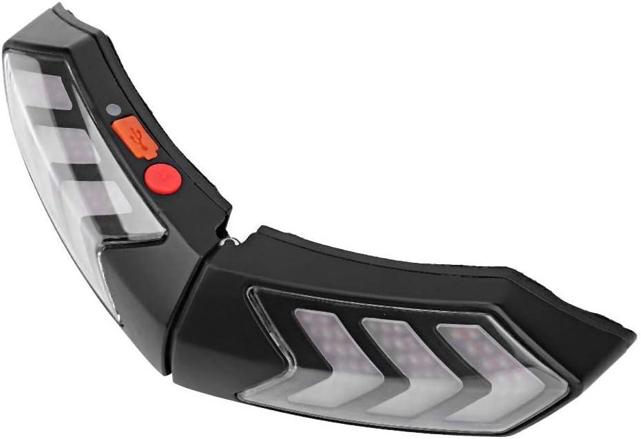 Luz de advertencia del casco Casco de motocicleta inal/ámbrico Luz de seguridad LED Moto Se/ñal de giro Barra de luces de freno de advertencia