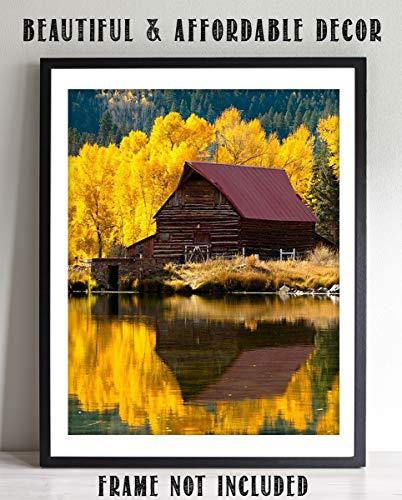 Colorado Fall Foliage- Barn On a Mountain Lake- 8 x 10