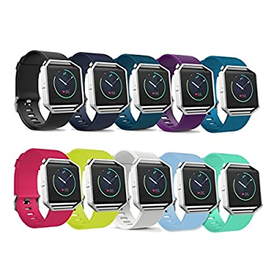 Fitbit Blaze Smart Fitness Watch Classic Silicone Replacement Accessory Band/ Wristband Bracelet Strap with Watchband Buckle, Large Size (6.7 inches - 8.1 inches/ 170mm - 205mm)