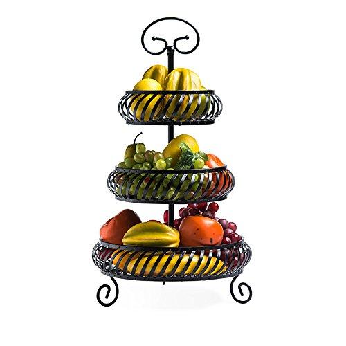 Comport Kitchen Fruit Basket Living Room Three-Tiered Storage Basket Wrought Iron Black (2750cm)