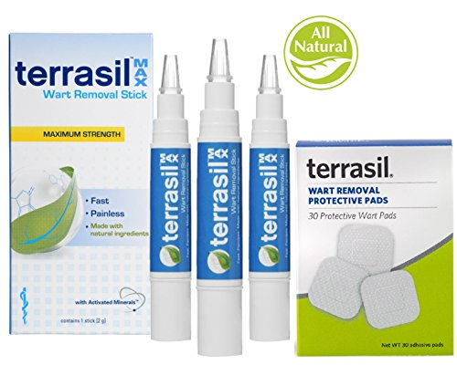 Wart Removal Stick- Maximum Strength with Wart Protective Pads - Pain Free Patented 100% Guaranteed Effective for Common Plantar Warts on Hands Feet by Terrasil