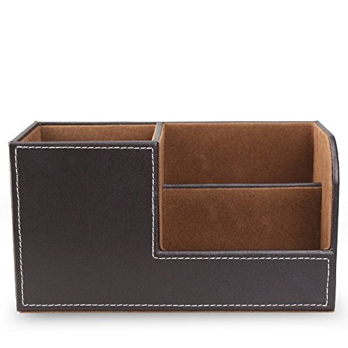 Wooden Struction Brown PU Leather Desk Supplies Organizer Pen/Pencil Holder Stationery Accessories Storage Box for Cell Phone,Business Name Cards,Remote Control by Mustar