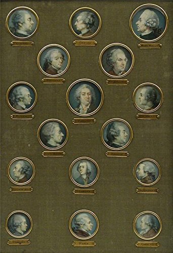 'French- Set of Sixteen Miniatures of French Eighteenth-Century Notables, Nineteenth Century' oil painting, 24x35 inch / 61x89 cm ,printed on Cotton Canvas ,this Reproductions Art Decorative Prints on Canvas is perfectly suitalbe for Study decoration and Home decoration and Gifts