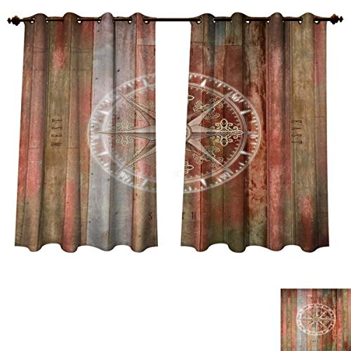 (Marine Life Blackout Thermal Backed Curtains for Living Room Ocean Sea Life Yacht Themed Warm Colored Wooden Backdrop with Compass Image Window Curtain Fabric Multicolor W55 x L72 inch)