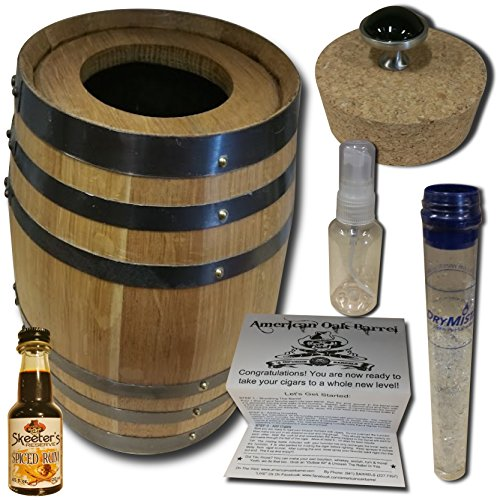 Infusion Humidor Cigar Barrel From American Oak Barrel - Spiced Rum Infusion Kit (2 Liter, Natural Oak With Black Hoops)