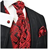 Red and Black Tuxedo Vest Set by Paul Malone