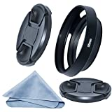 SIOTI 55mm Camera Tilted Vented Metal Lens Hood + Cleaning Cloth + 2pcs Lens Cap(55mm suit for Lens,62mm suit for Lens Hood) for Standard Thread Lens