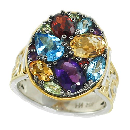 Michael Valitutti Palladium Silver Multi Gemstone Cluster Ring (Gemstone Ring Cluster Multi)