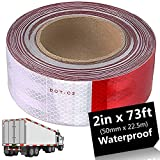 LANIAKEA Reflective Tape for Trailers, DOT-C2 Retroreflective Sheeting Pattern: Alternating White and Red Color Segments, 50mm x 73ft, Waterproof Adhesive, for Truck, Garage Door, Parking Lot, Driveway