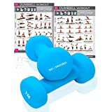 KG Physio Neoprene dumbells for women and men (sold in pairs) FREE PULL OUT A3 DOUBLE SIDED WALL...