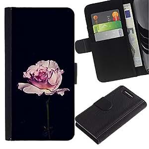 LASTONE PHONE CASE / Lujo Billetera de Cuero Caso del tirón Titular de la tarjeta Flip Carcasa Funda para Sony Xperia Z1 Compact D5503 / rose black romantic minimalist flower