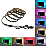 XTF2015 USB LED Strip Light, 6.56ft (2M) 60leds Flexible 5050 RGB TV BackLight with 5V USB Cable and Mini Controller for TV/PC/Laptop Background Lighting, Desk, Under Cabinet