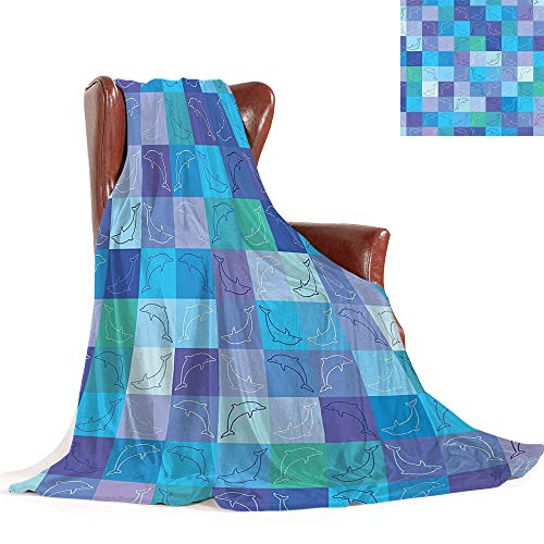 Cheap SATVSHOP Weighted blanket-90 x70-Warm Microfiber All Season Comfortable Flannel blanke.Sea Animals Playful Dolphin Figur in Mosaic of Colored Squar Underwater Life Theme Black Friday & Cyber Monday 2019