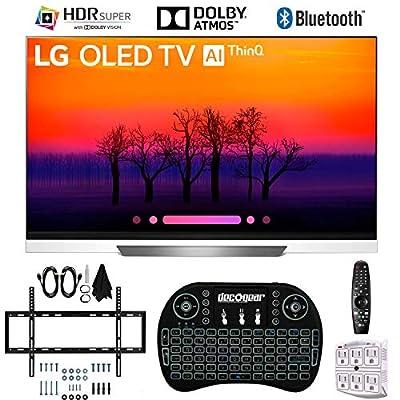 LG E8PUA 55 OLED 4K HDR Ultra HD AI Smart TV with Wireless Keyboard + Wall Bracket Bundle