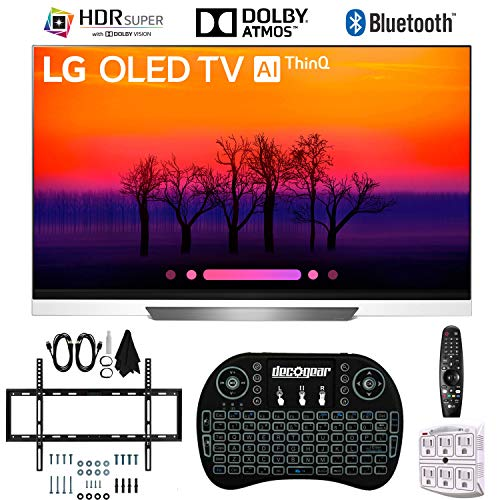 LG OLED55E8PUA 55″ E8 OLED 4K HDR AI Smart TV with 2.4GHz Wireless Backlit Keyboard, Slim Wall Mount Kit Ultimate Bundle and 750 Joule Surge Protector