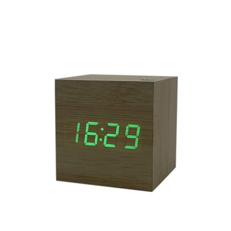 Pantalla Cuadrada Cubo USB Alarma Escritorio de Madera Reloj Digital Sound Tiempo de Control de Temperatura