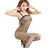 Swiusd Women Sexy Fishnet Bodystocking Babydoll Lingerie Chemise Sleeveless Nightwear Bodysuits Jumpsuits Nightgown (Black)