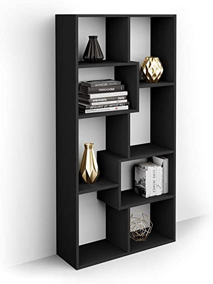 Mobili Fiver, Estantería XS Iacopo (160,8 x 80 cm), librería Color Madera Negra, Aglomerado y Melamina, Made in Italy