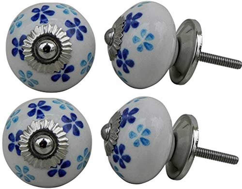 Ceramic Blue Daisy Flat White Drawer Pulls and Knobs Handmade Designer Set of 12 Silver Finish 103