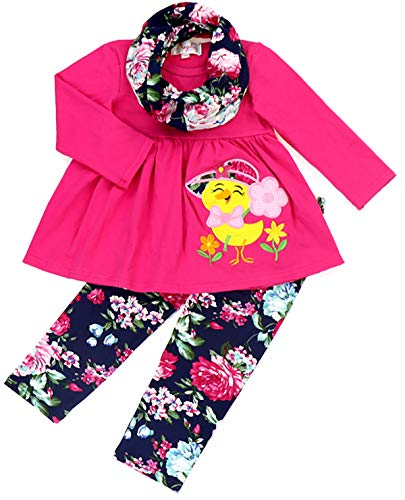 Boutique Baby Girls Spring Easter Chick Embroidery Floral Tunic Top Legging Scarf Set Fuchsia 12-18M/XXS]()