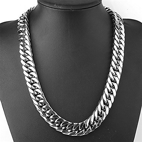 Men's Jewelry Heavy 16mm Necklace Silver Tone Stainless Steel Chain Large Curb Chain Link - Chain Large Curb