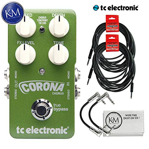 - TC Electronic Corona Chorus Pedal + (2) Instrument Cables + (2) Patch Cables + K&M Cloth