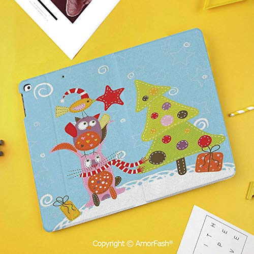 PU Flip Case for Samsung Galaxy Smart TAB S4 10.5 2018 T830 T835 Cover,Christmas,Funny Cartoon Stylized Cat Owl and a Bird Best Animals Gifts Noel Print,Green Blue