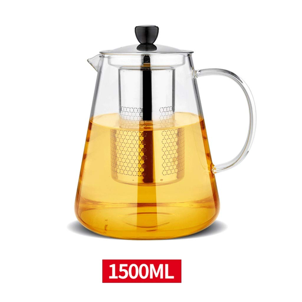 Teapot Stainless Steel Filter Large Capacity, Heat Resistant Glass Borosilicate Tea Pot for Loose Tea, Clear Leaf Teapot with Strainer,1500ML by FYJK