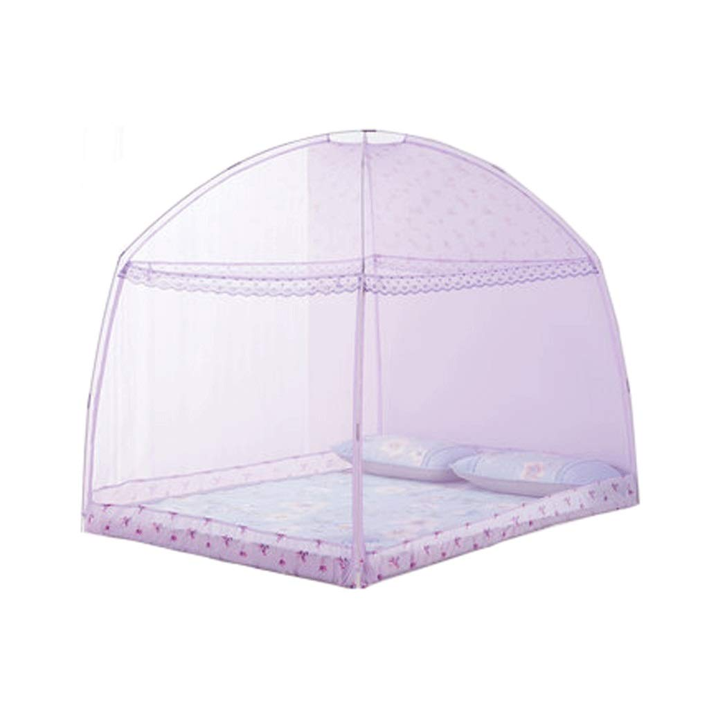 Mosquito Net Dust top Zipper Drop Children 1.5/1.8m Bed 2 m Household encryption Thickening Princess Wind (Color : Purple, Size : 1.8m Bed)