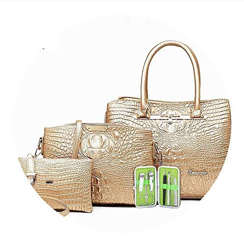 PU Leather Women Crocodile Pattern Messenger Bags,Gold