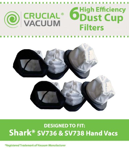6 Shark XSB726N Washable Dust Cup Filter For Shark Hand Vac Models; SV736, SV748, SV738, SV719, SV70, SV90, SV728 and SV726; Designed & Engineered By Crucial Vacuum