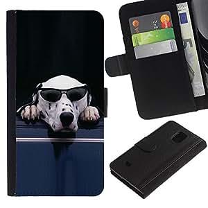 KingStore / Leather Etui en cuir / Samsung Galaxy S5 Mini, SM-G800 / Gafas de sol para perros dálmata blanco divertido lindo