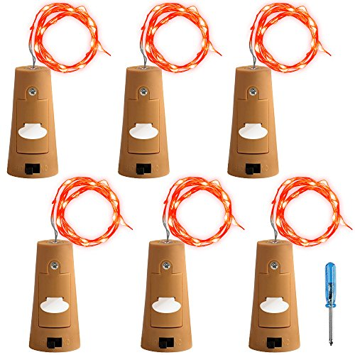 AFUNTA 6 Pcs Cork Light Screwdriver, Bottle Lights Fairy String LED Lights, 78 inches / 2 m Copper Wire 20 LED Bulbs Suitable Party Wedding Concert Festival Christmas Tree Decoration-red