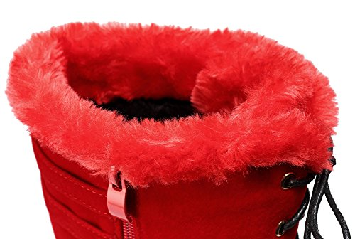 Buckle Knee red Up Zipped Suede Fur Heel getmorebeauty Lace Boots High Womens Boots High Rock 0x6SgnwEq