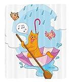 Chaoran 1 Fleece Blanket on Amazon Super Silky Soft All Season Super Plush Home Decor Cute Cat under the Umbrellaail in the Clouds Humor Cartoon Kids Nursery Theme Fabric