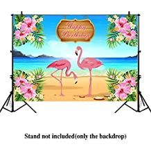 Allenjoy 7x5ft Let's Flamingle Flamingo Hawaiian Birthday party banner Backdrop background photo booth Dessert Table Tropical Beach or Aloha Party
