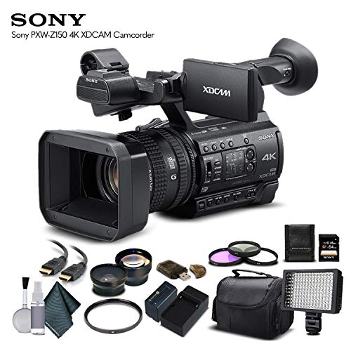 Sony PXW-Z150 4K XDCAM Camcorder (PXW-Z150) with 64GB Memory Card, Extra Battery and Charger, UV Filter, LED Light, Case, Telephoto Lens, Wide Angle Lens, and More - Advanced Bundle